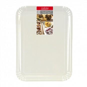 2 plateaux blancs en carton - 34X48cm