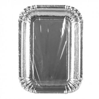 2 plateaux rectangles argent