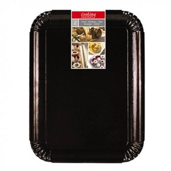2 plateaux noirs en carton - 33X43cm