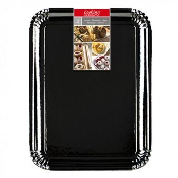 2 plateaux rectangulaires en carton noirs - 34X48cm