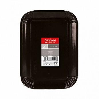 2 plateaux noirs en carton - 21X29cm