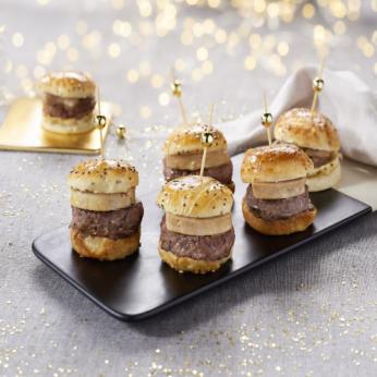 6 Minis bugers bœuf Charolais façon Rossini Confit d'oignons - Foie gras de canard