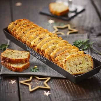 Cake au chapon, ses marrons et ses cèpes relevé d'une pointe de moutarde à l'ancienne