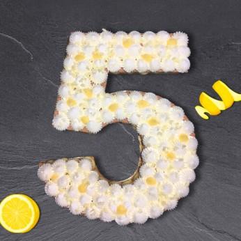Number Cake - Chocolat blanc / Citron - Numéro 5 - 15 parts