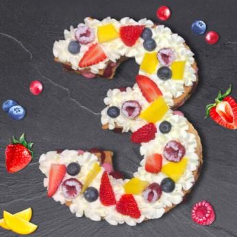 Number Cake - Fraisier - Numéro 3 - 8 parts