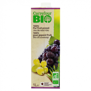 Jus de raisin 100% pur fruit pressé bio Carrefour Bio