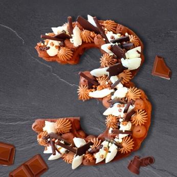 Number Cake - Trois chocolats - Numéro 3 - 8 parts