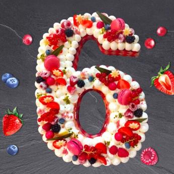 Number Cake - Fraisier - Numéro 6 - 8 parts