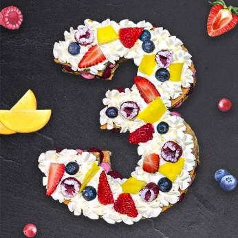 Number Cake - Framboise - Numéro 3 - 8 parts