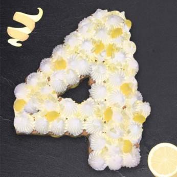 Number Cake - Chocolat blanc / Citron - Numéro 4 - 15 parts