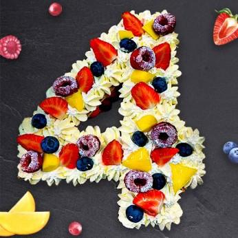 Number Cake - Framboise - Numéro 4 - 8 parts