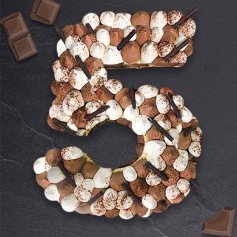 Number Cake - Trois chocolats - Numéro 5 - 15 parts