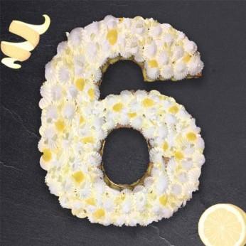 Number Cake - Chocolat blanc / Citron - Numéro 6 - 15 parts