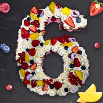 Number Cake - Framboise - Numéro 6 - 8 parts