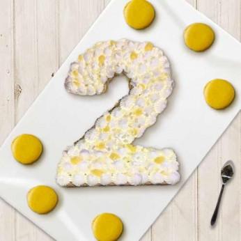 Number Cake - Chocolat blanc / Citron - Numéro 2 - 8 parts