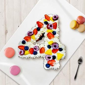 Number Cake - Fraisier - Numéro 4 - 8 parts