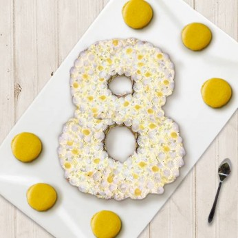 Number Cake - Chocolat blanc / Citron - Numéro 8 - 8 parts