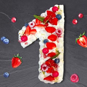Number Cake - Framboise - Numéro 1 - 8 parts