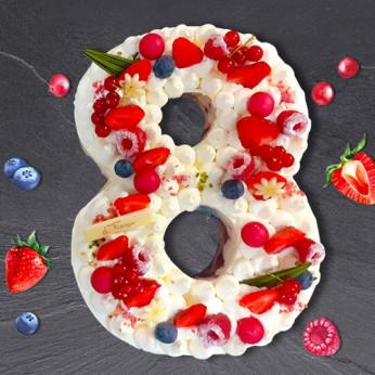 Number Cake - Framboise - Numéro 8 - 8 parts