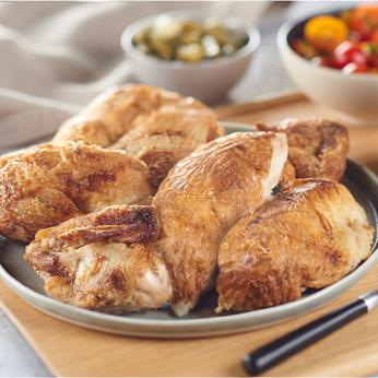 Plateau de poulet certifié rôti découpé en 6