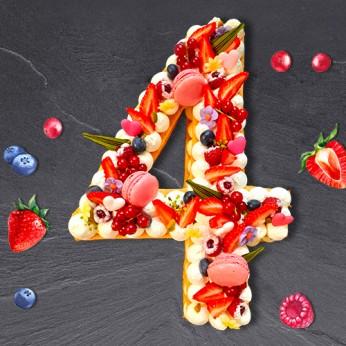 Number Cake - Fraisier - Numéro 4 - 15 parts