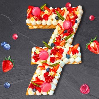 Number Cake - Fraisier - Numéro 7 - 15 parts