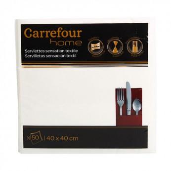 50 serviettes blanches 40x40cm Carrefour Home