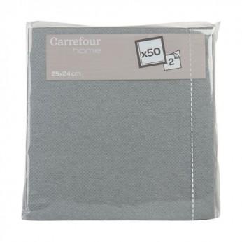 50 serviettes grises 25x25cm Carrefour Home
