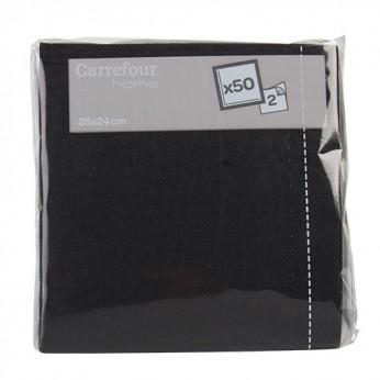 50 serviettes noires 25x25cm Carrefour Home