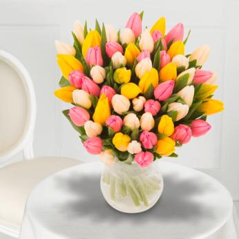 Bouquet de Tulipes de Printemps tricolore
