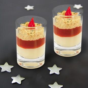 Verrine tartare de crabe, chutney de poivron rouge et crème de panais