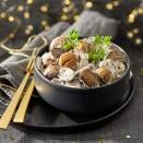 Gourmandise de chataîgnes et ses champignons à la crème