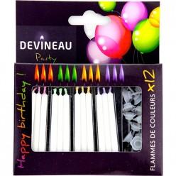 12 bougies à flamme de couleur_carrefour_traiteur