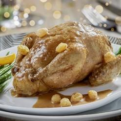 Caille farcie aux raisins et cognac, sauce foie gras