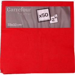 50 serviettes rouges 33x33cm Carrefour Home
