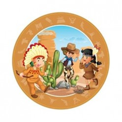 6 assiettes D 23cm - Cowboys / indiens