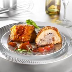Moelleux de poulet croustillant - farce marron confits et raisins de corinthe
