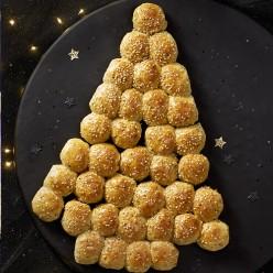 Sapin de Noel en pain brioché lardons et oignons