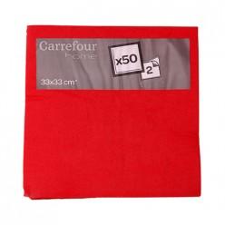 50 serviettes rouges 25x25cm Carrefour Home