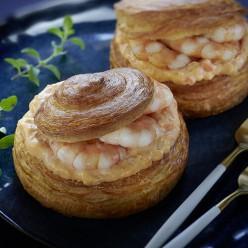 Tourbillon de Gambas, sauce au beurre blanc et Piment d'Espelette