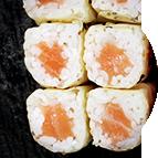 California rolls sans algue au saumon et fromage