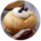 Mini choux glacage blanc garniture vanille