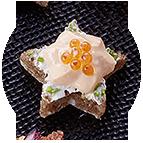 Etoiles délice de saumon et oeufs de truffe