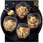 Verrines tartare de tomates et saint jacques (35g)