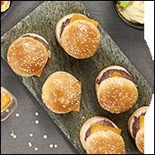 Plateau de 6 mini cheeseburgers au boeuf charolais