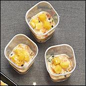 Verrines tartare de tomates, noix de Saint-Jacques et légumes billes au vinaigre balsamique,