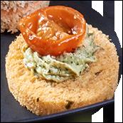 Canapés pain tomate et herbes, courgettes aux notes de pesto et tomate cerise mi-séchée