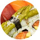 Sushi asperges marinées et parmesan